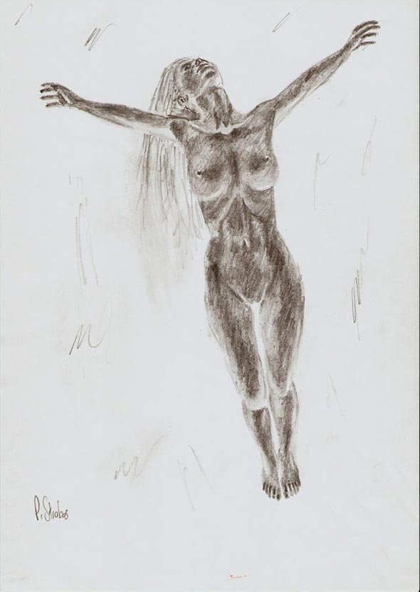 Quick concept sketch of a woman floating upward.