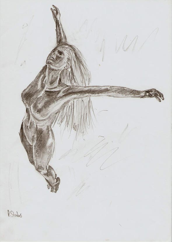 Rough pencil sketch of a female figure soaring skyward.