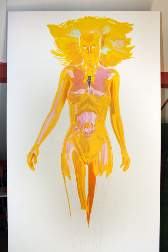 Painting the female figure, Muse in introspection by Peter Strobos.