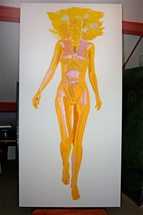First colour layer painted, Muse in introspection by Peter Strobos.