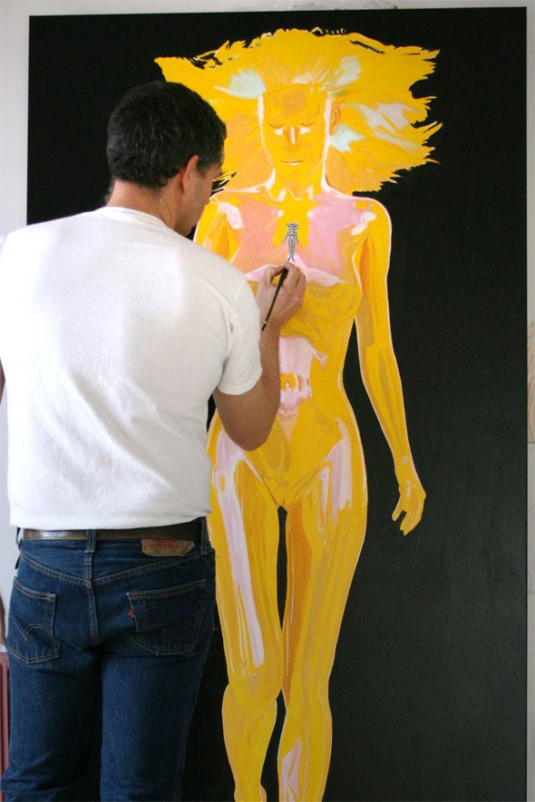 Artist Peter Strobos painting Muse in introspection.