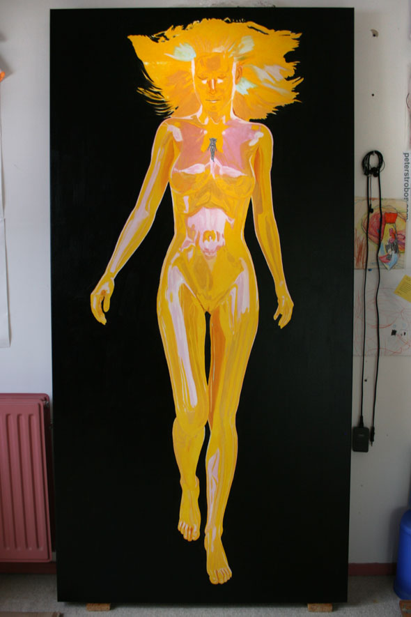 Contrasting background painted in, Muse in introspection by Peter Strobos.
