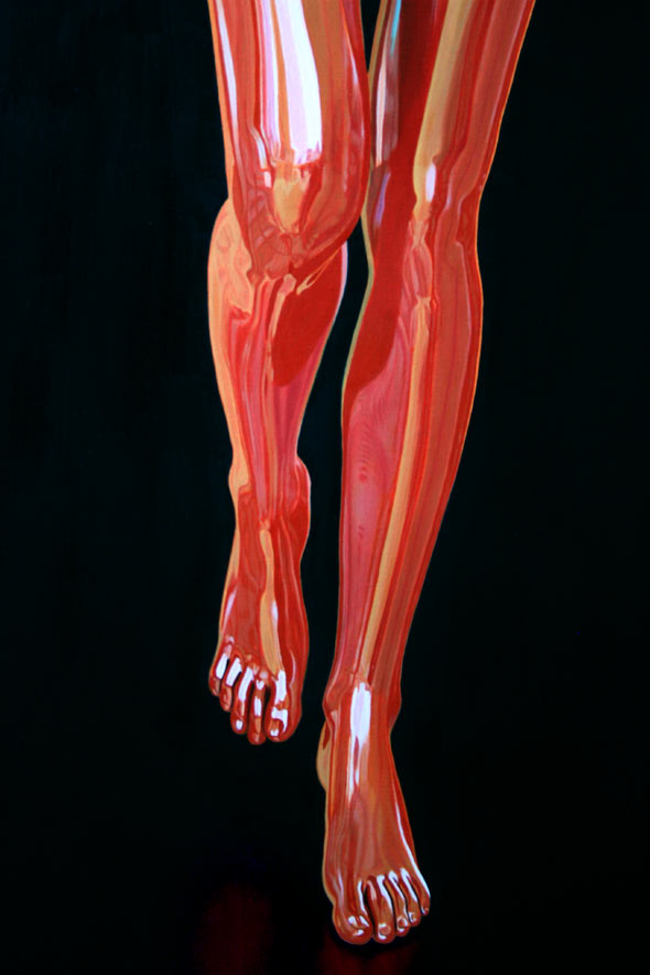 Leg detail from oil painting, Muse in introspection by Peter Strobos.