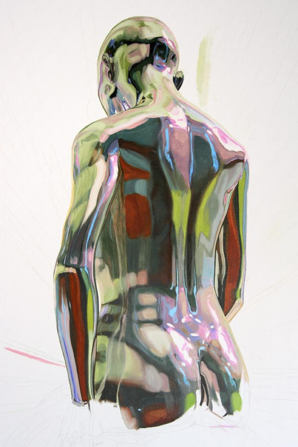 Painting the female figure, La trascendencia by Peter Strobos.