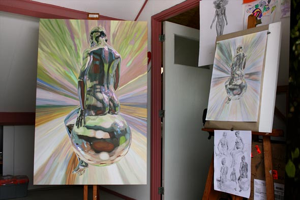 Oil painting progress with sketches in studio, La trascendencia by Peter Strobos.