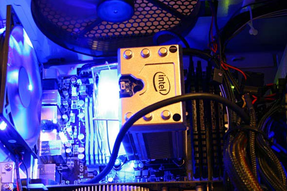 Quad core workstation, internal view.