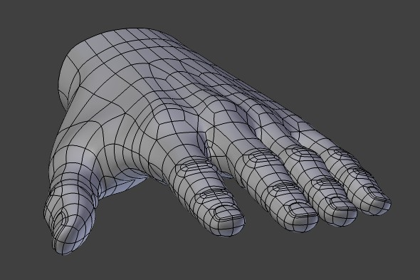 Polygonal hand mesh adjustments, improving topology flow.