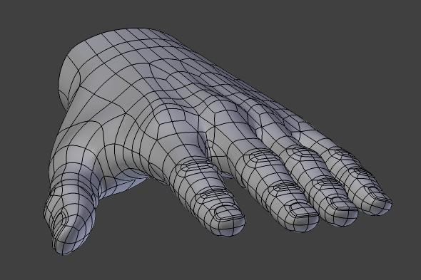 Polygonal hand mesh adjustments, improving topology flow.