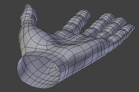 Tweaking palm topology of the polygonal hand mesh.