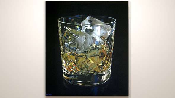 Oil painting on exhibition, Whisky glass by Peter Strobos.