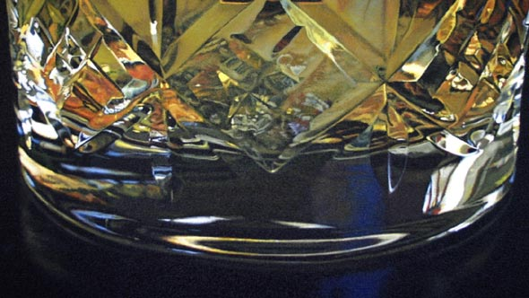 Close-up of oil painting, Whisky glass by Peter Strobos.