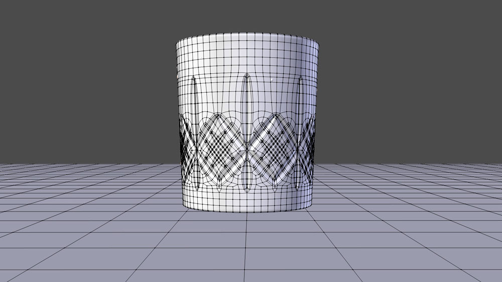 Crystal whisky glass 3D model, polygonal mesh.