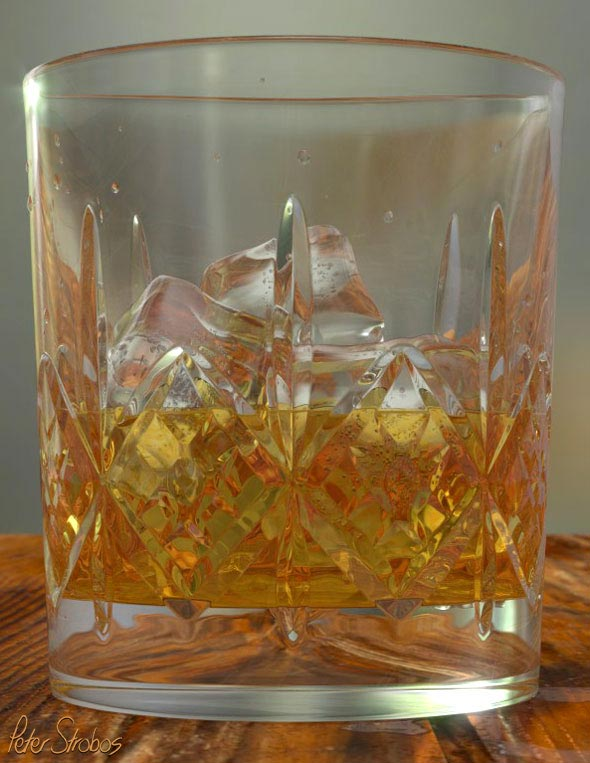 Crystal whisky glass 3D rendering close-up.
