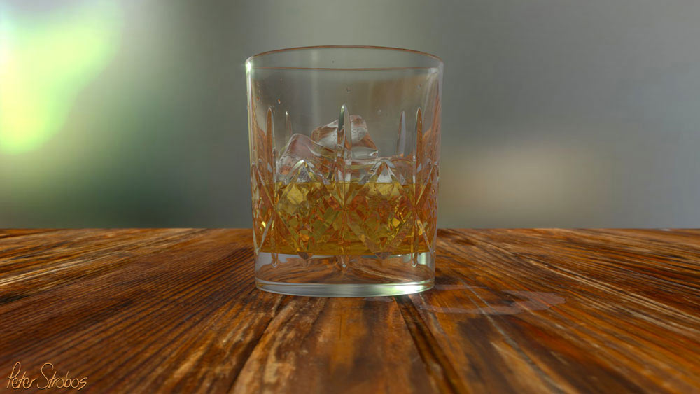 Crystal whisky glass on wooden table 3D rendering.