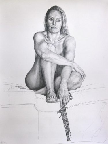 Graphite drawing by Peter Strobos of a woman posing with flintlock.