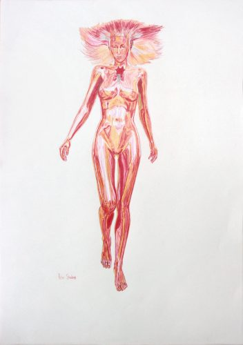 Colour concept drawing of a woman walking, frontal view.