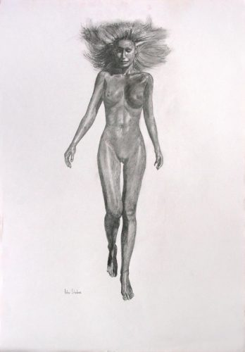 Rough pencil drawing of a woman walking, frontal view.