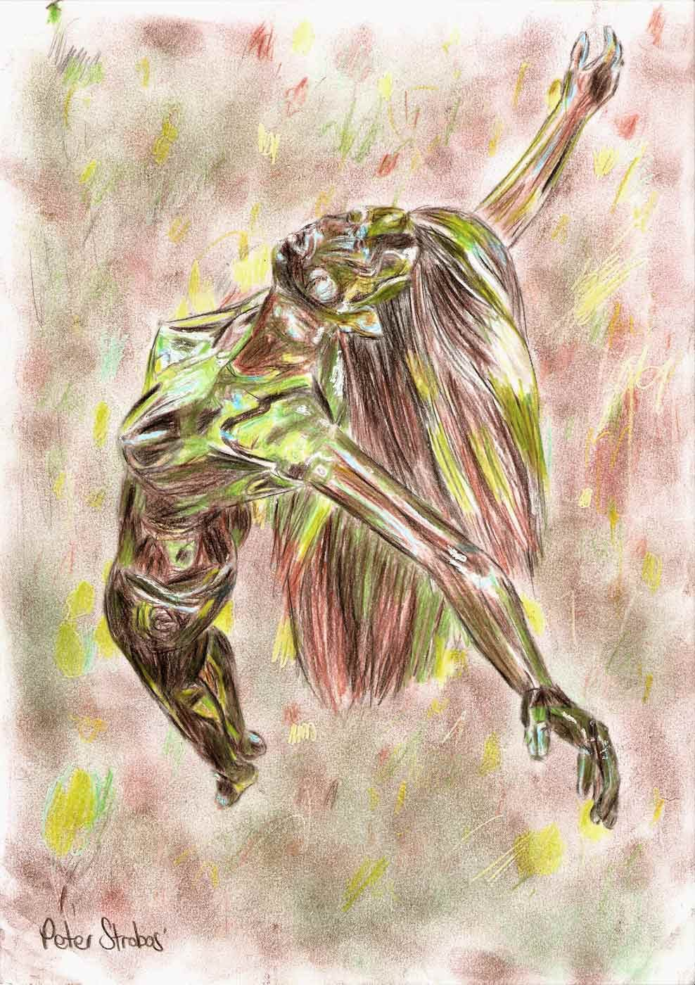 Colour pencil concept sketch of woman rising upward.