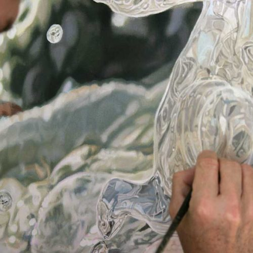 Artist Peter Strobos painting detail for Lavender.