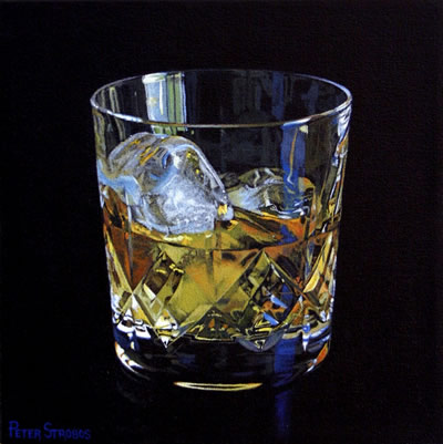 Oil on canvas painting of a glass of Scotch Whisky and ice by artist Peter Strobos.