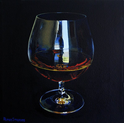 Oil on canvas painting of a glass of stylish Cognac by artist Peter Strobos.