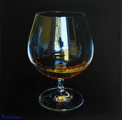 Oil on canvas painting of a glass of fine Cognac by artist Peter Strobos.