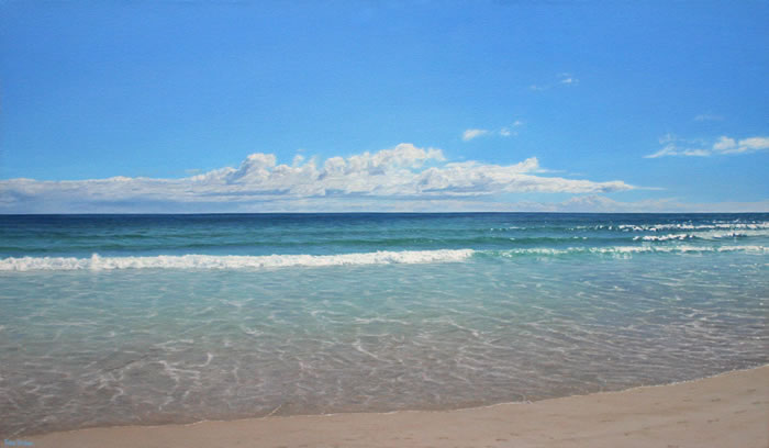 Oil on canvas seascape painting from Noordhoek's Long Beach, Cape Town by artist Peter Strobos.