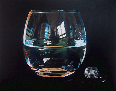 Oil on canvas painting of a glass tumbler of water and an ice block by artist Peter Strobos.