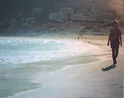 Oil on canvas seascape painting of a woman walking on Hout Bay Beach at sunset by artist Peter Strobos.