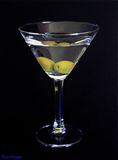 Oil on canvas painting of a Martini cocktail with olives by artist Peter Strobos.