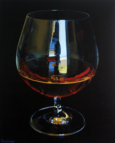 Oil on canvas painting of a birthday glass of Cognac by artist Peter Strobos.