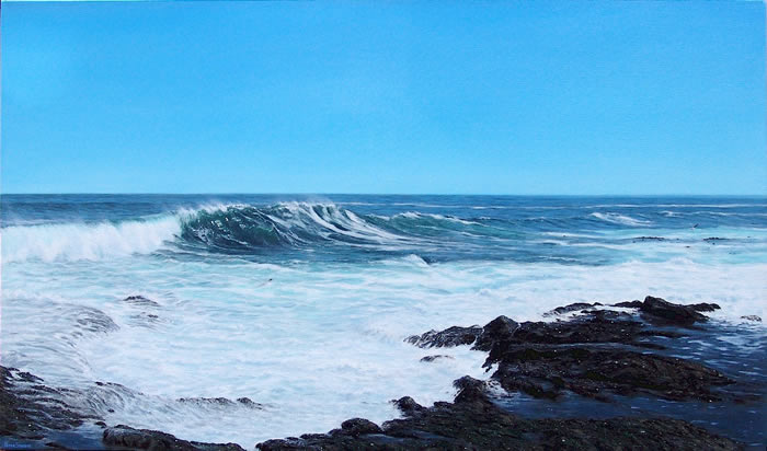 Oil on canvas seascape painting with incoming wave from Seapoint, Cape Town by artist Peter Strobos.