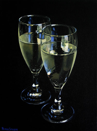Oil on canvas painting of two glasses of white sparkling wine by artist Peter Strobos.