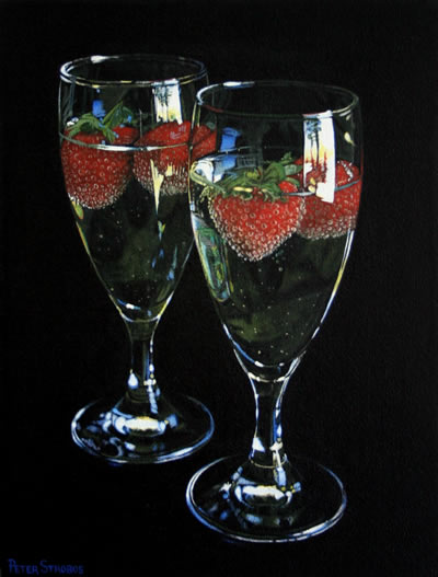 Oil on canvas painting of two glasses of white sparkling wine with strawberries by artist Peter Strobos.
