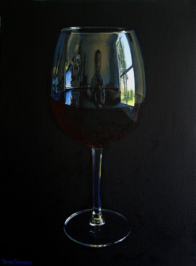 Oil on canvas painting of a glass of Cabernet Sauvignon red wine by artist Peter Strobos.