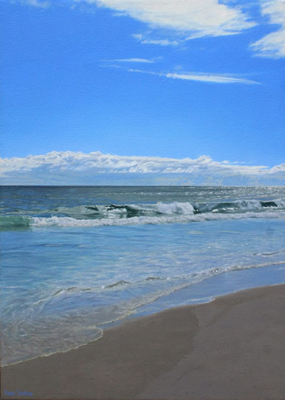 Oil on canvas seascape painting of a calm Atlantic ocean from Noordhoek Beach, Cape Town by artist Peter Strobos.
