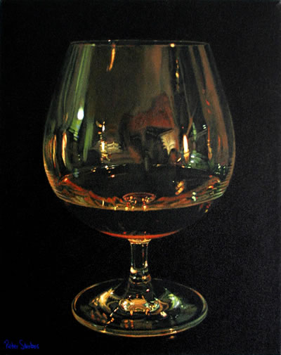 Oil on canvas painting of a cognac glass reflecting a candlelit scene by artist Peter Strobos.
