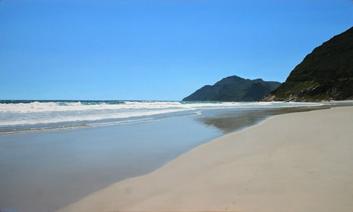 Oil on canvas seascape painting from Long Beach looking towards Chapman's Peak, Cape Town by artist Peter Strobos.
