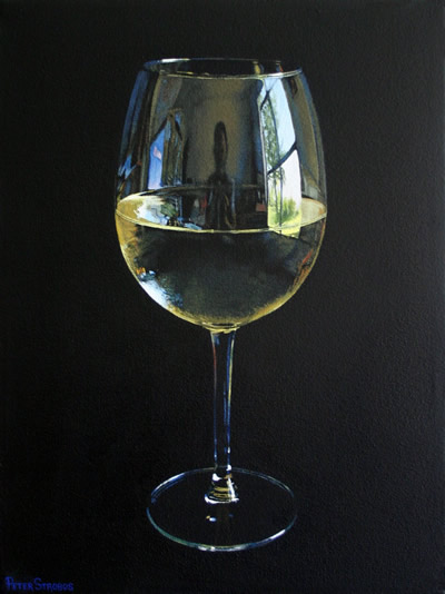 Oil on canvas painting of a glass of Chardonnay white wine by artist Peter Strobos.