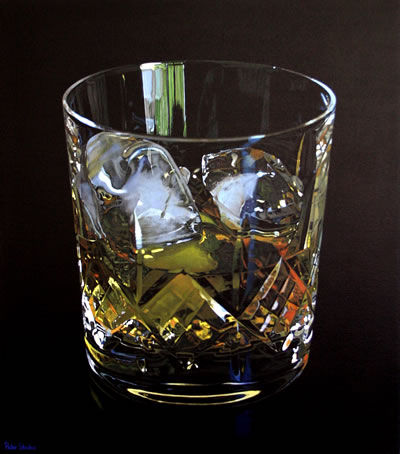 Oil on canvas painting of Whisky in a crystal tumbler by artist Peter Strobos.