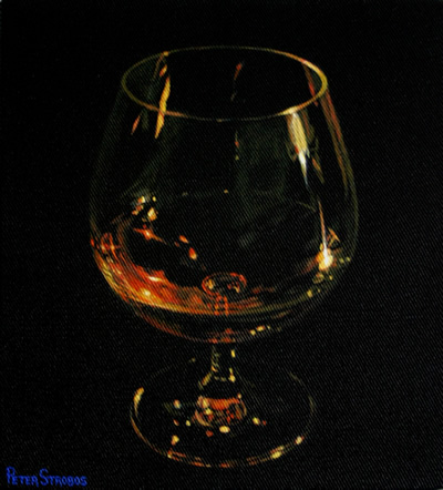 Oil on canvas painting of a candlelit glass of Cognac by artist Peter Strobos.