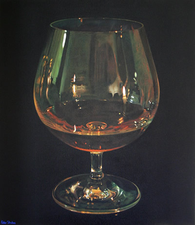 Oil on canvas painting of a Cognac brandy in candlelight by artist Peter Strobos.
