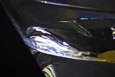 Close-up detail of reflections in a Martini glass oil painting by artist Peter Strobos.