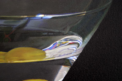 Close-up detail of dispersion in a Martini glass oil painting by artist Peter Strobos.