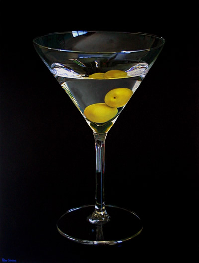 Oil on canvas painting of a doctor's Martini with olives by artist Peter Strobos.