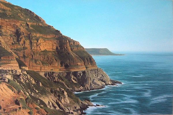 Oil on canvas sea and landscape painting viewing Chapman's Peak Drive from the lookout point by artist Peter Strobos.