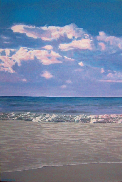 Oil on canvas seascape painting of wash, calm waves and pink clouds from Hout Bay Beach by artist Peter Strobos.