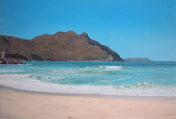Oil on canvas seascape painting from Hout Bay Beach looking towards Leopard Rock with Chapman's Peak in the background by artist Peter Strobos.