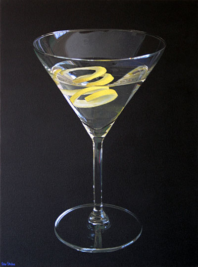 Oil on canvas painting of a Martini with a twist of lemon by artist Peter Strobos.