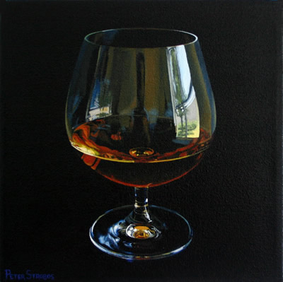 Oil on canvas painting of a social afternoon Cognac by artist Peter Strobos.